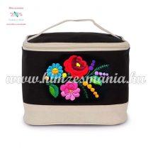 Cosmetic bag - handmade folk embroidery - Kalocsa pattern - black-natural