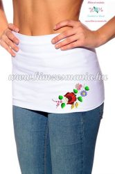 Waist Warmer - folk flower - machnine embroidery - Kalocsa motif - white