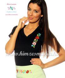 T-shirt V-neck - hungarian folk machine embroidered - Kalocsa style - Black