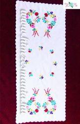 Kalocsai mintás futó - kézzel hímzett - négyszögletes - 84x36 cm
