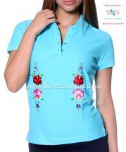 Women polo shirt - hungarian folk  machine embriodery - Kalocsai design - turquoise
