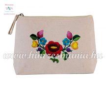 Toiletry bag - folk embroidery - handmade - Kalocsa motif - natural
