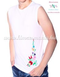 MEN SLEEVLESS T-SHIRT - hungarian folk machine-embroidery - Kalocsa style - white - Embroidery Mania
