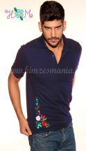 Mens Polo Shirts - hungarian embroidery - kalocsa motif - navy