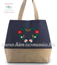 Large cotton and jute (juco) shopper bag - folk embroidery - Matyo style - jeans effect