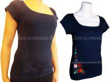 Hímzésmánia - hímezhető póló kalocsai motívummal - sötétkék