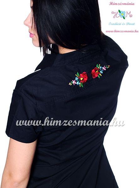 30dfbe8891 Kalocsai mintás elején-hátulján hímzett női ing - Hímzésmánia - fekete