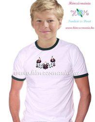 Boy-s T-shirt - hungarian folk machine embroidery - Matyo style - white