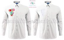 Pre-stamped men shirt - hungarian folk hand embroidery - Kalocsai pettern - white