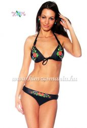 Bikini push up - hungarian folk design - Kalocsa style - black