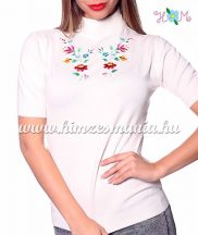 Women turtleneck sweater - hungarian folk embroidery - Kalocsa pattern - cream