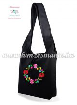 Cotton canvas tote bag - hungarian folk embroidered - Kalocsa style - Black