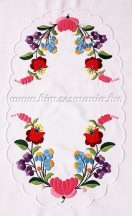 Table runner - hungarian folk embroidery - Kalocsai pattern - handmade white borders - 24x42 cm