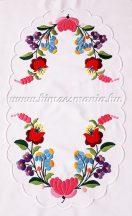 Table runner - hungarian folk embroidery - Kalocsai pattern - handmade white borders - 24x42 cm