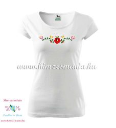 Woman's Short Sleeve T-Shirts - hungarian folk embroidery - Matyo motif - white