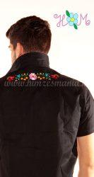 Hímzésmánia - hátulján hímzett kalocsai férfi ing - fekete