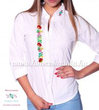 Women's long sleeve shirt - hand embroidery - hungarian folk style  - white