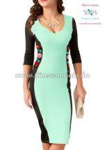 Kézi hímzésű kalocsai mintás ruha - pistachio (36)