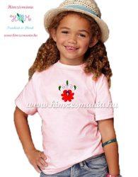 Matyó rózsával hímzett gyerek póló - lányoknak - rózsaszín - Hímzésmánia