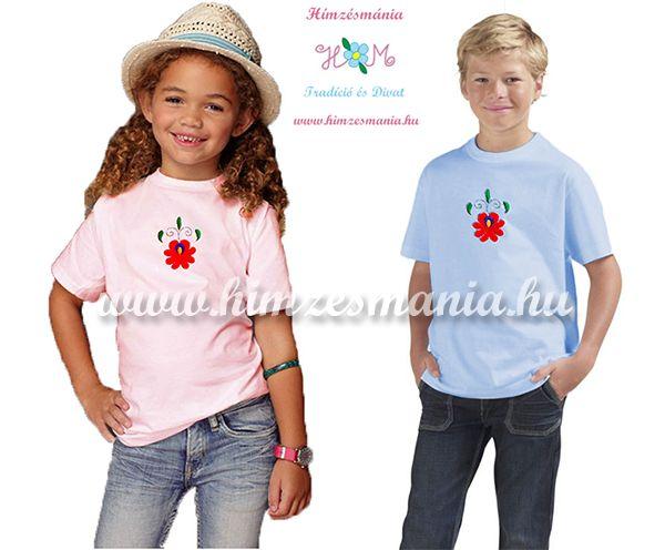 Matyó rózsával hímzett gyerek póló - lányoknak - rózsaszín - Hímzésmánia f31c53810c