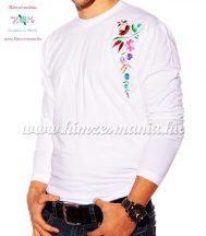 Hosszú ujjú fehér férfi póló kalocsai hímzéssel - Hímzésmánia