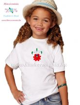 T-shirt for girls - hungarian folk machine embroidery - Matyo style - white