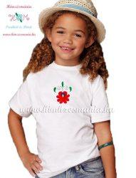 Matyó rózsával hímzett gyerek póló - lányoknak - fehér - Hímzésmánia