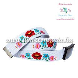 Belt - hungarian machine embroidery - kalocsa motif - white
