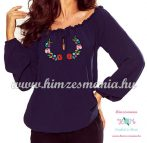 Women's blouse - folk embroidery - Kalocsa style - navy