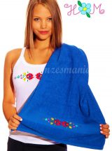 Hímzésmánia - matyó hímzett törölköző - kék