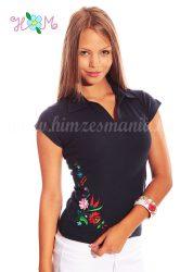 Hímzésmánia - kalocsai mintás női galléros póló - sötétkék