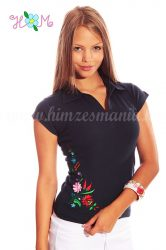 Women polo shirt - hungarian folk embroidery - Kalocsa style - navy