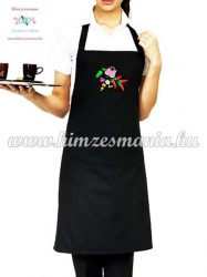 Black apron - folk embroidery - hungarina pattern - Kalocsa style