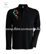 Men's polo shirt - long sleeve - machine embroidery - Kalocsa style - black