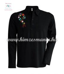 Men's polo shirt - long sleeve - machine embroidery - Kalocsa style - black