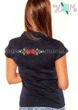 Hímzésmánia - elején-hátulján hímzett matyó mintás női galléros póló - sötétkék (S)