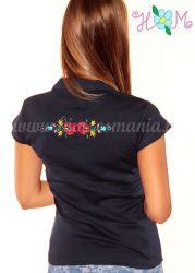 Women polo shirt - hungarian folk embroidery - Matyo style - navy