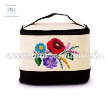 Cosmetic bag - handmade folk embroidery - Kalocsa pattern - natural-black
