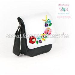 Bag - folk embroidery - hungarian flowers - Kalocsa style - black