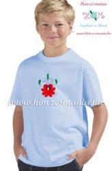 T-shirt for boys - hungarian folk machine embroidery - Matyo style - light blue
