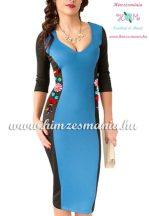 Women dress - hungarian folk hand embroidery - Kalocsai motif - blue