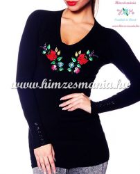 Women pullover - hungarian folk embroidery - Kalocsa style - black