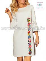 Women's dress - folk embroidery - handmade - Kalocsa motif - light gray