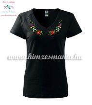Women's t-shirt - V-neck - short sleeve - hungarian folk - machine embroidery - black