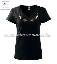 Women's t-shirt - V-neck - short sleeve - hungarian folk - machine embroidery - black