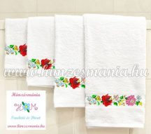 Towel - folk embroidered - Kalocsa motif - white