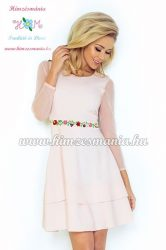 Elegant ladies' dress - folk embroidery - hungarian style - Kalocsai motif - peach