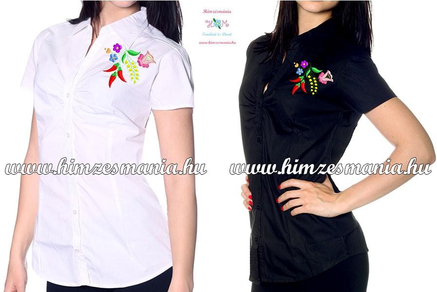 85fd09f87b Rövid ujjú női ing - kalocsai minta - gépi hímzés - fekete ...