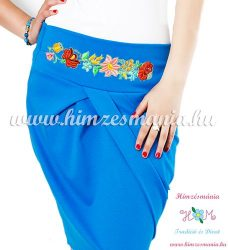 Elegant skirt - hungarian folk Kalocsa machine embroidery - cornflower - Embroidery Mania
