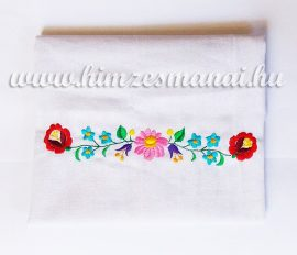 Dish cloth - hungarian folk machine-embroidery - Kalocsai style - white